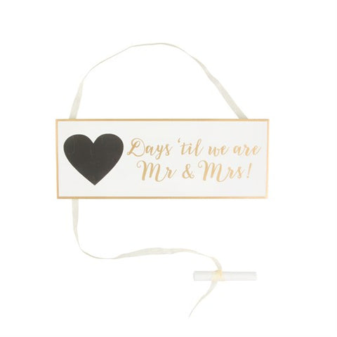 "Wooden Plaque ""Days Until Mr & Mrs"""
