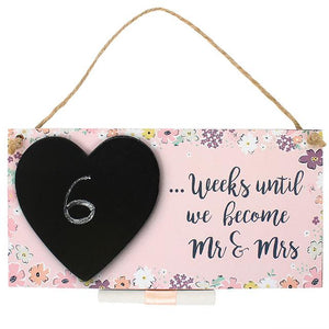 "Chalkboard Plaque ""Weeks until we become Mr & Mrs"""