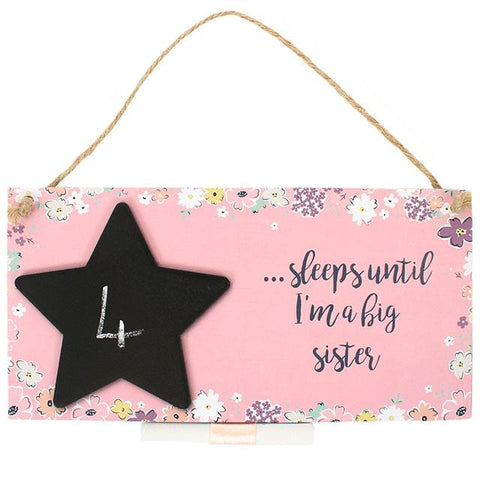 "Chalkboard Plaque ""Sleeps until i'm a big sister"" - A Pinch of Love Gifts"