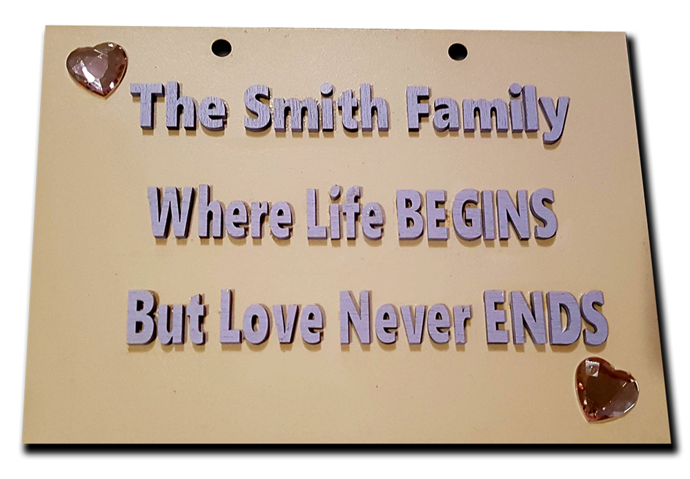 Hanging plaque - where life begins & love never ends! - A Pinch of Love Gifts