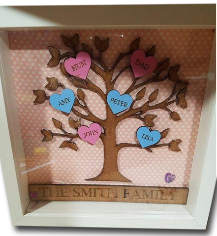 Personalised Family Tree Box Frame - A Pinch of Love Gifts