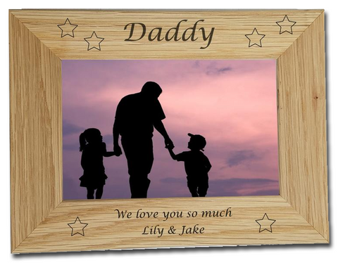Father's Day Personalised Engraved photo frame pine