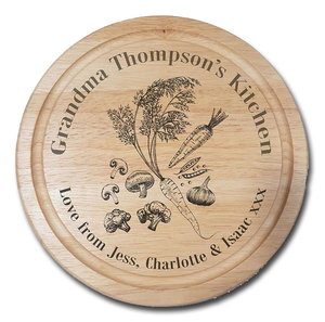 Vegetable engraved kitchen chopping board