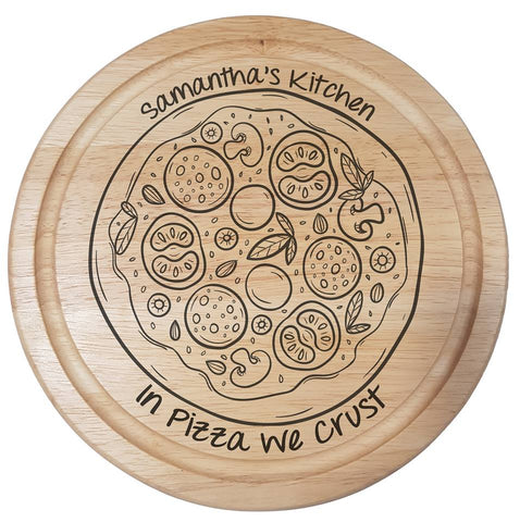 Pizza laser engraved chopping board personalised