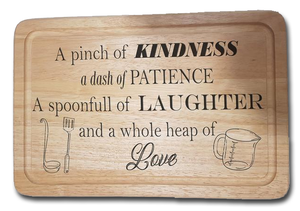 Kindness, Patience, Laughter & Love personalised chopping board gift