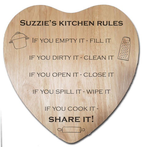 "Engraved ""Kitchen Rules"" Chopping Board - A Pinch of Love Gifts"