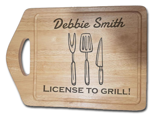 License To Grill personalised chopping board gift
