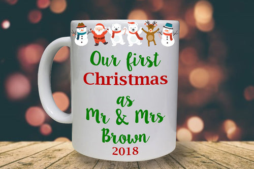 First Mr & Mrs Christmas Personalised Mug - A Pinch of Love Gifts