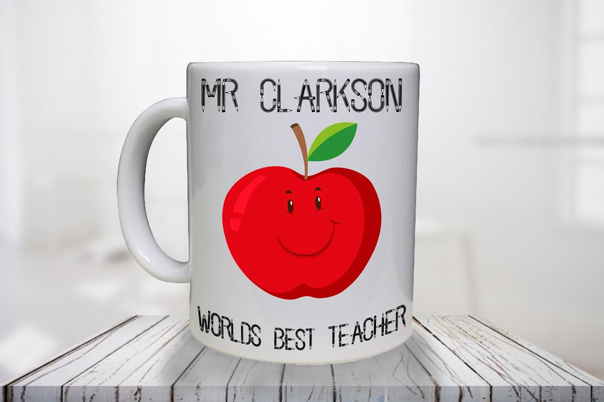 World's Best Teacher Apple Personalised Mug - A Pinch of Love Gifts