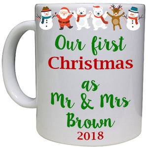 First Mr & Mrs Christmas Personalised Mug