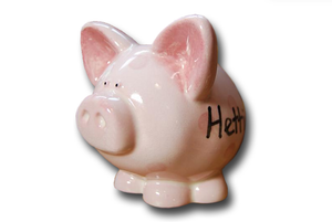 Hand Painted Personalised Ceramic Money Box - Pig