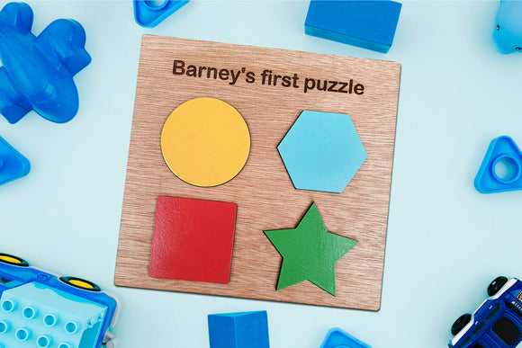 Personalised Shape Plaque, Wooden Baby Gift