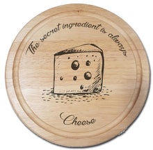 "Load image into Gallery viewer, Engraved ""The secret ingredient is always Cheese!"" Chopping Board - A Pinch of Love Gifts"