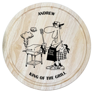 King of the grill chopping board personalised