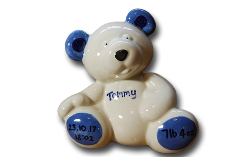 Hand Painted Personalised Ceramic Money Box - Teddy Bear