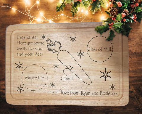 "Engraved ""Santa Treat"" Chopping Board - A Pinch of Love Gifts"