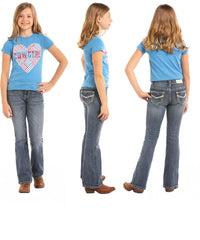 PANHANDLE GIRLS' ROCK & ROLL COWGIRL BOOT CUT JEAN- STYLE #G5-5104