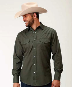 Roper Men's Olive Broadcloth Snap Shirt- Style #01-001-0025-0208