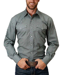 Roper Men's Amarillo Jade Quarry Quatrefoil Foulard Snap Shirt- Style #03-001-0225-4004