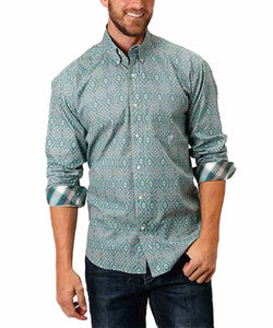Roper Men's Amarillo Jade Quarry Medallion Paisley Print Button Down Shirt- Style #03-001-0326-4003