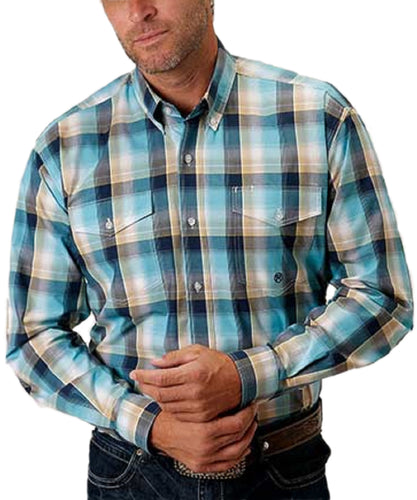 Roper Men's Amarillo Lake Shore Long Sleeve Button Down Shirt- Style #03-001-0378-5008