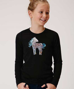 Roper Girls' Five Star Girls Sequin Horse Tee- Style #03-009-0513-6106