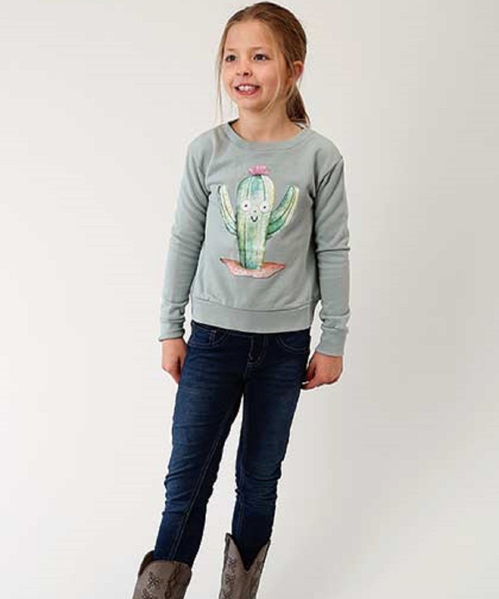 Roper Girls' French Terry Cotton Cactus Sweatshirt- Style #03-009-0514-6074