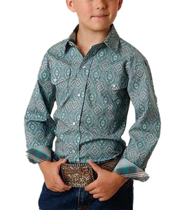 Roper Boys' Amarillo Jade Quarry Medallion Paisley Print Snap Shirt- Style #03-030-0225-4003