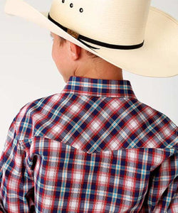 Roper Boys' New England Plaid Snap Shirt-Style #03-030-0278-5002