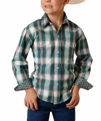 Roper Boys' Amarillo Jade Quarry Plaid Snap Shirt- Style #03-030-0278-5006