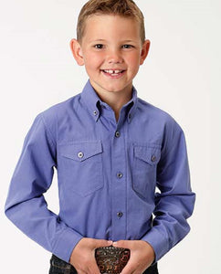 ROPER BOYS' LONG SLEEVE BUTTON DOWN SOLID SHIRT - STYLE #03-030-0365-0306
