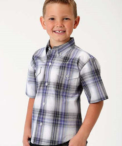 ROPER BOYS' SHORT SLEEVE BUTTON DOWN PLAID SHIRT- STYLE #03-031-0378-2065