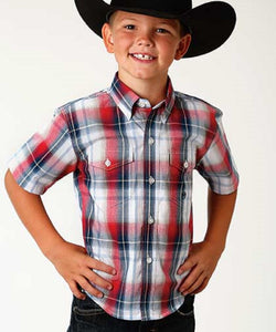 ROPER BOY'S SHORT SLEEVE BUTTON DOWN PLAID SHIRT - STYLE #03-031-0378-4038