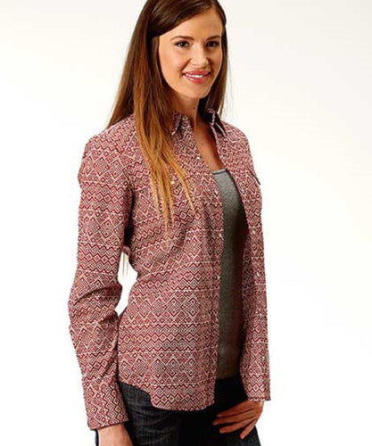 ROPER WOMEN'S RED RIVER GEO PRINT SNAP SHIRT- STYLE #03-050-0064-0322