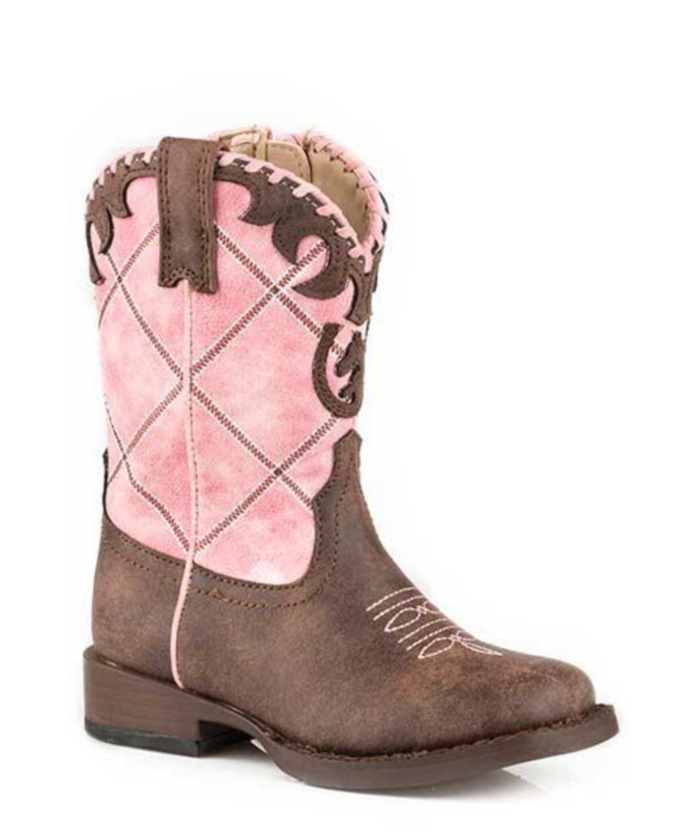 Roper Toddlers Pink Diamond Embroidery With Horseshoe Boot- Style# 09-017-1902-2000