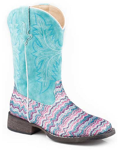 Roper Youth Glitter Aztec Western Boot- Style #09-018-0191-9523