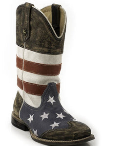 ROPER KIDS' AMERICAN FLAG LEATHER BOOT- STYLE #09-018-0903-0103