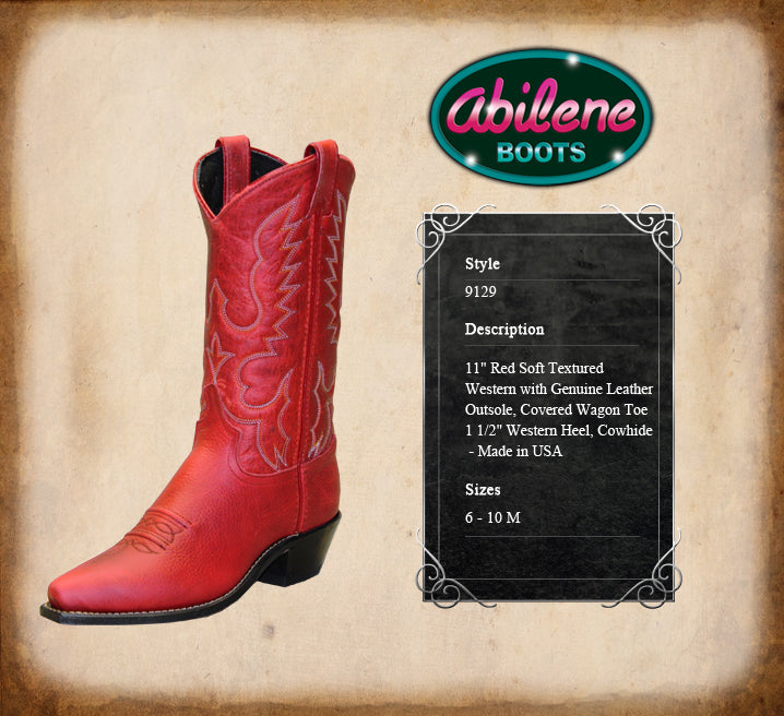 ABILENE WOMEN'S RED SOFT TEXTURED COWHIDE WESTERN BOOT- STYLE #9129