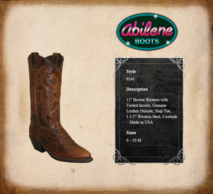 ABILENE WOMEN'S BROWN WESTERN BOOT WITH TOOLED INSERTS - STYLE #9141