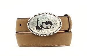 Nocona Boys' Praying Cowboy Distressed Leather Belt- Style #N4422444