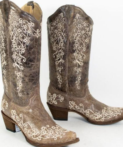 Corral Women's Distressed Tan Embroidered Boot- Style #A1094