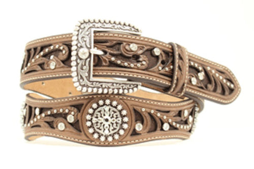 M&F WESTERN WOMEN'S ARIAT SCALLOPED INLAY BELT- STYLE #A1513002
