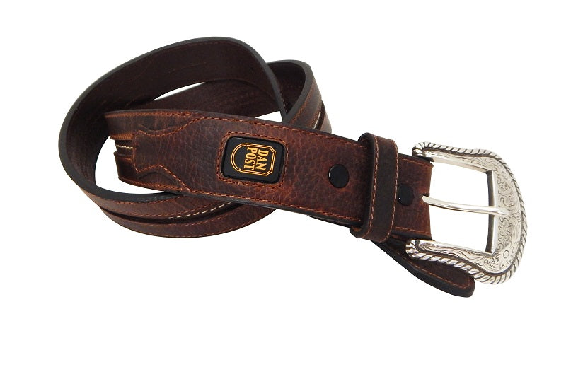 DAN POST MEN'S BROWN CENTER STITCH CUT EDGE BELT- STYLE #9115500