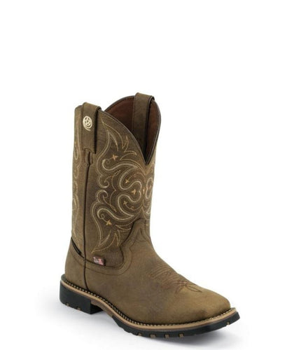 JUSTIN WOMEN'S EMBOSSED GOLDEN OAK CRAZY HORSE WATERPROOF BOOT- STYLE #GSL9050