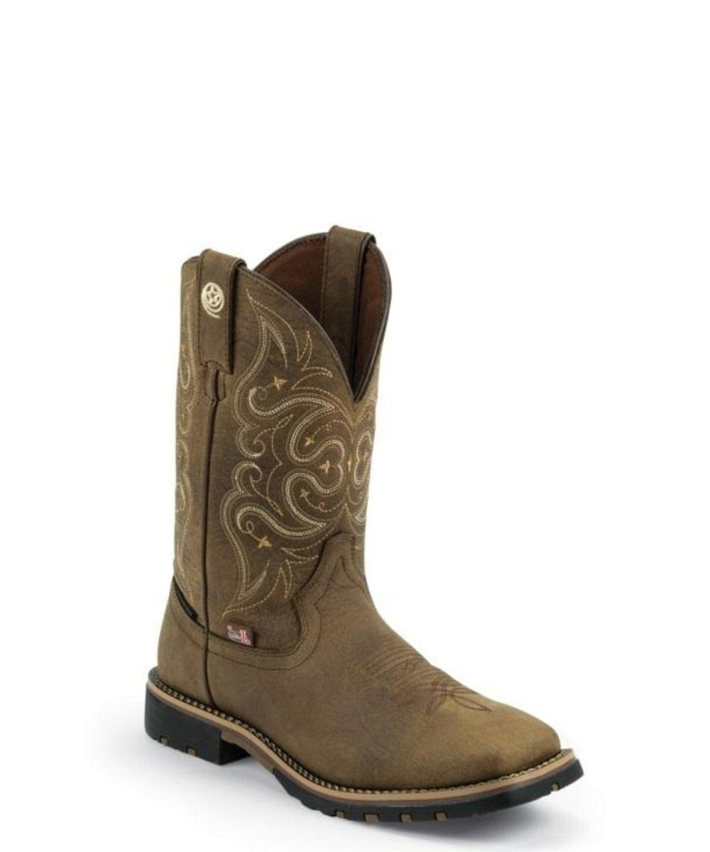 Justing Women's Embossed Golden Oak Crazy Horse Waterproof Boot- Style #GSL9050