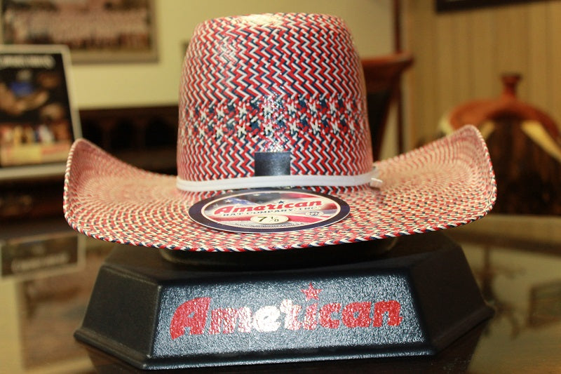 AMERICAN HAT CO. RED/IVORY/NAVY STRAW HAT- STYLE #2030
