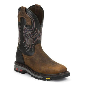 Justin Men's Reddish Waxy Milled Buffalo Commander-X-5 Boot- Style #WK2104