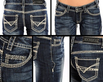 Rock & Roll Cowgirl Women's Boot Cut Riding Jean- Style #W7-9516