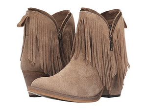 DINGO WOMEN'S TAN ZIP UP SHORT BOOT WITH FRINGE - STYLE #DI7454