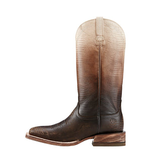 ARIAT WOMEN'S OMBRE WEST CHOCOLATE LIZARD PRINT BOOT- STYLE #10018513